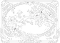 雅室兰香中式背景墙雕刻图案