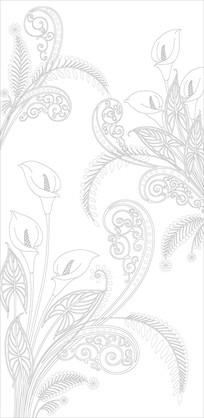 郁金香花纹现代玄关雕刻图案