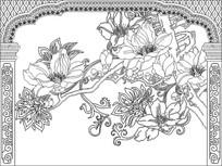 玉兰花鸟拱门背景墙雕刻图案