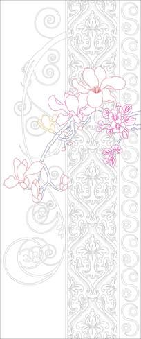 玉兰花纹中式玄关雕刻图案
