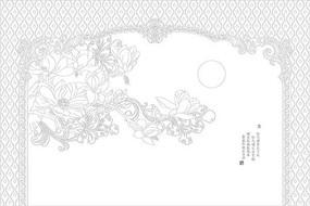 玉蘭歐式花紋背景墻雕刻圖案