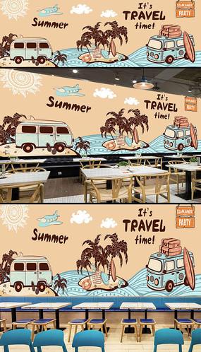 欧美时尚夏天旅游酒吧背景墙