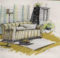 手绘沙发效果图