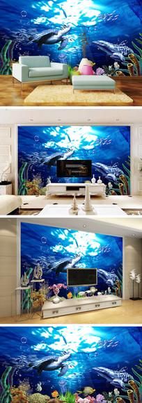 海底世界海豚海龟背景墙