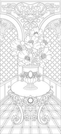 花瓶桌子玄关雕刻图案