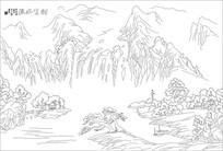 流水生财山水画雕刻图案