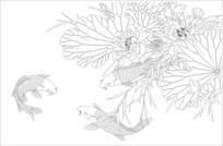 荷花鱼背景墙雕刻图案