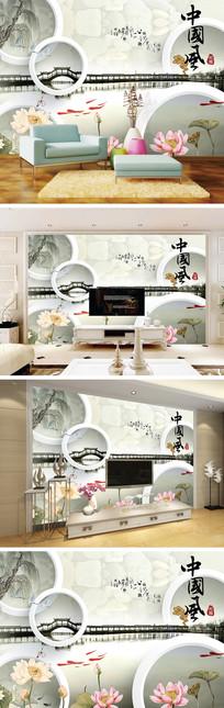 中国风荷花长廊背景墙