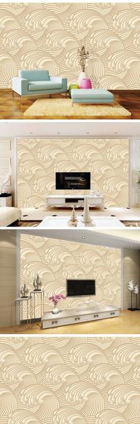 浮雕金色海浪背景墙