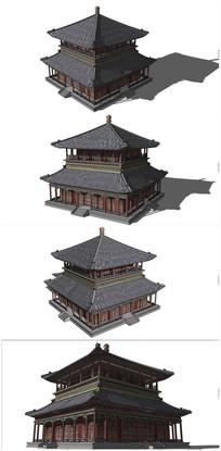 古典中式茶楼SU模型素材