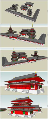汉代古建寺庙SU建筑模型