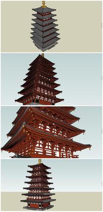 精细风格七层古塔SU模型