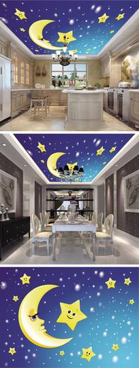 卡通星星月亮天顶吊顶壁画