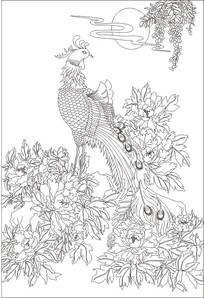 孔雀花鸟玄关雕刻图案