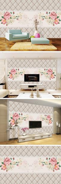 现代简约玫瑰软包背景墙