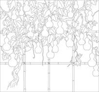 葫芦藤蔓背景墙雕刻图案