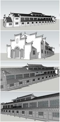 二层中式民居茶馆SU模型