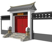 古代中式庭院住宅大门模型