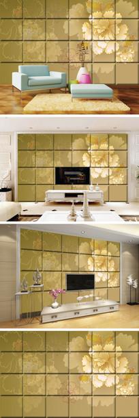 金色牡丹瓷砖背景墙