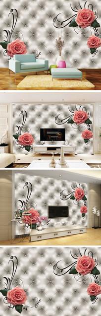 玫瑰软包背景墙