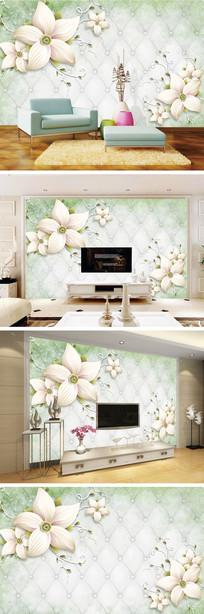 现代简约花朵软包背景墙