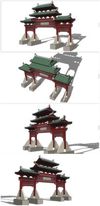 中式入口牌坊大门SU模型