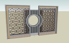 中式图案景墙模型
