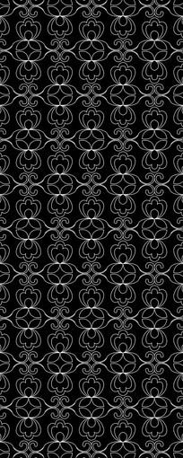 黑底白线花卉图案