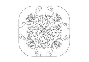 花朵拼接圆角矩形雕刻纹样