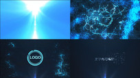 蓝色科技线条标志演绎AE视频模版