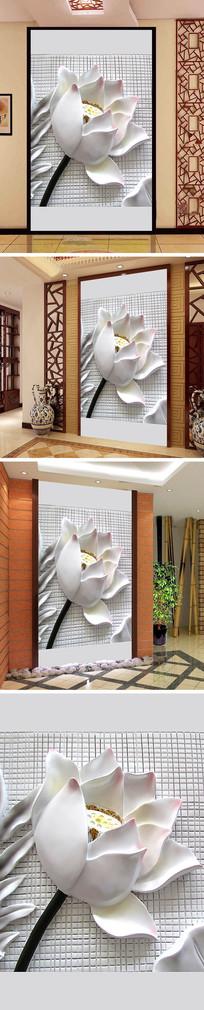 玉雕白色莲花玄关背景墙