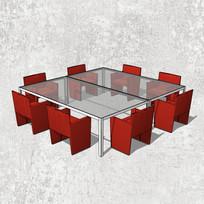 八人方桌办公桌
