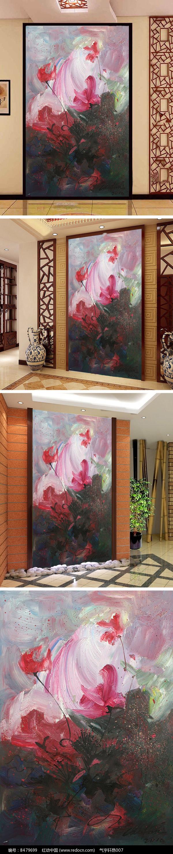 抽象油画玄关背景墙