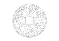 树叶元素圆形填充雕刻纹样