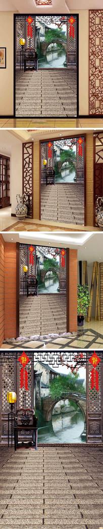 中式门窗风景玄关背景墙