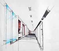 办公走廊手绘透视图