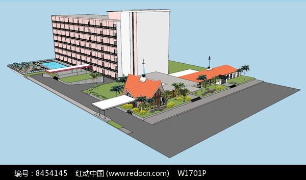 度假村度假酒店SU模型图片