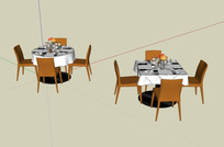 饭店餐厅桌子椅子的SU模型