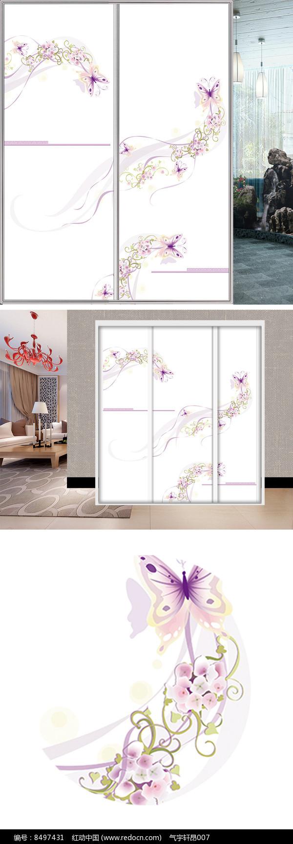 花朵蝴蝶衣柜移门图片背景图片