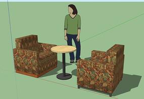 咖啡店单座扶手沙发SU模型
