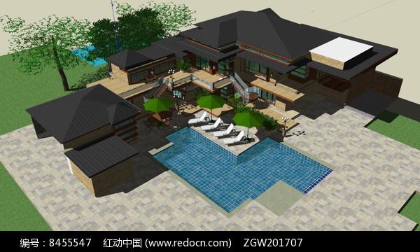 美式风格别墅及庭院图片