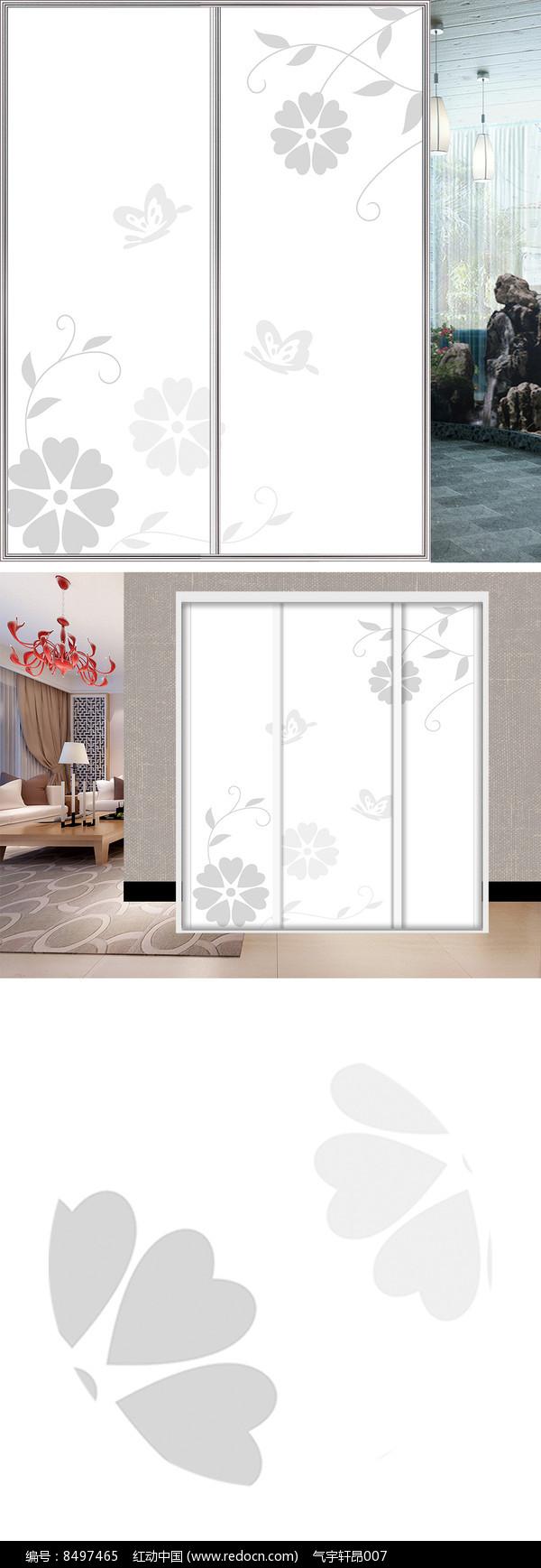 手绘花朵蝴蝶衣柜移门图片背景图片