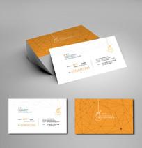 橙色线条科技名片设计