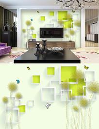 抽象线条花朵方框背景墙