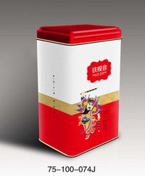 传统红色茶包装设计psd模板