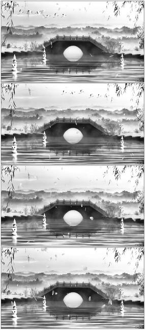 小桥流水水墨画