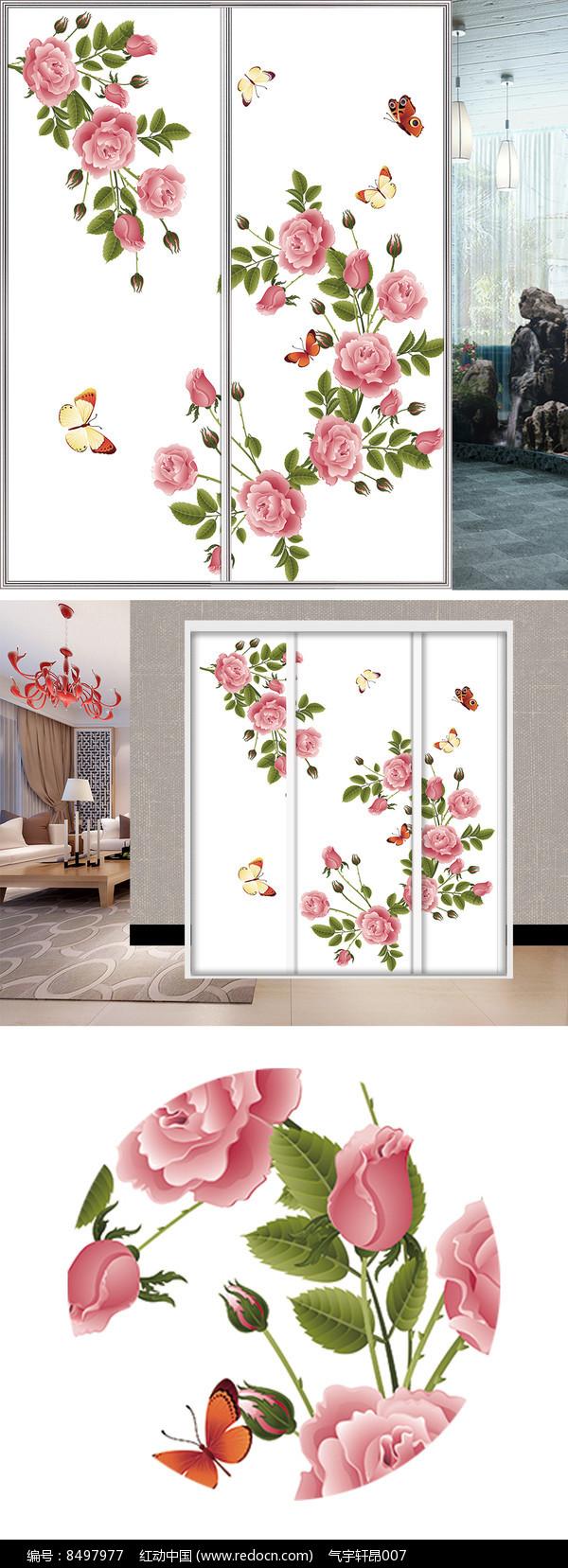 玫瑰蝴蝶衣柜移门图片背景图片