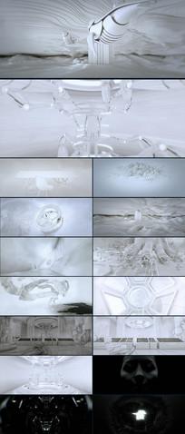 雪白陶瓷唯美空间艺术CG视频