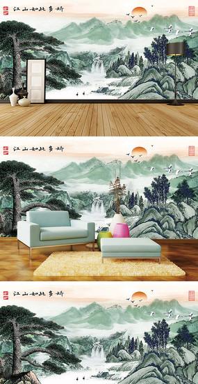 江山如此多娇迎客松瀑布背景墙