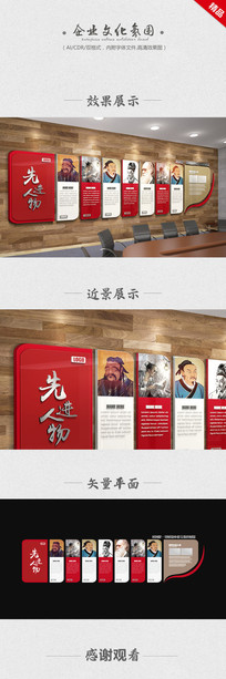 先进人物企业文化墙设计